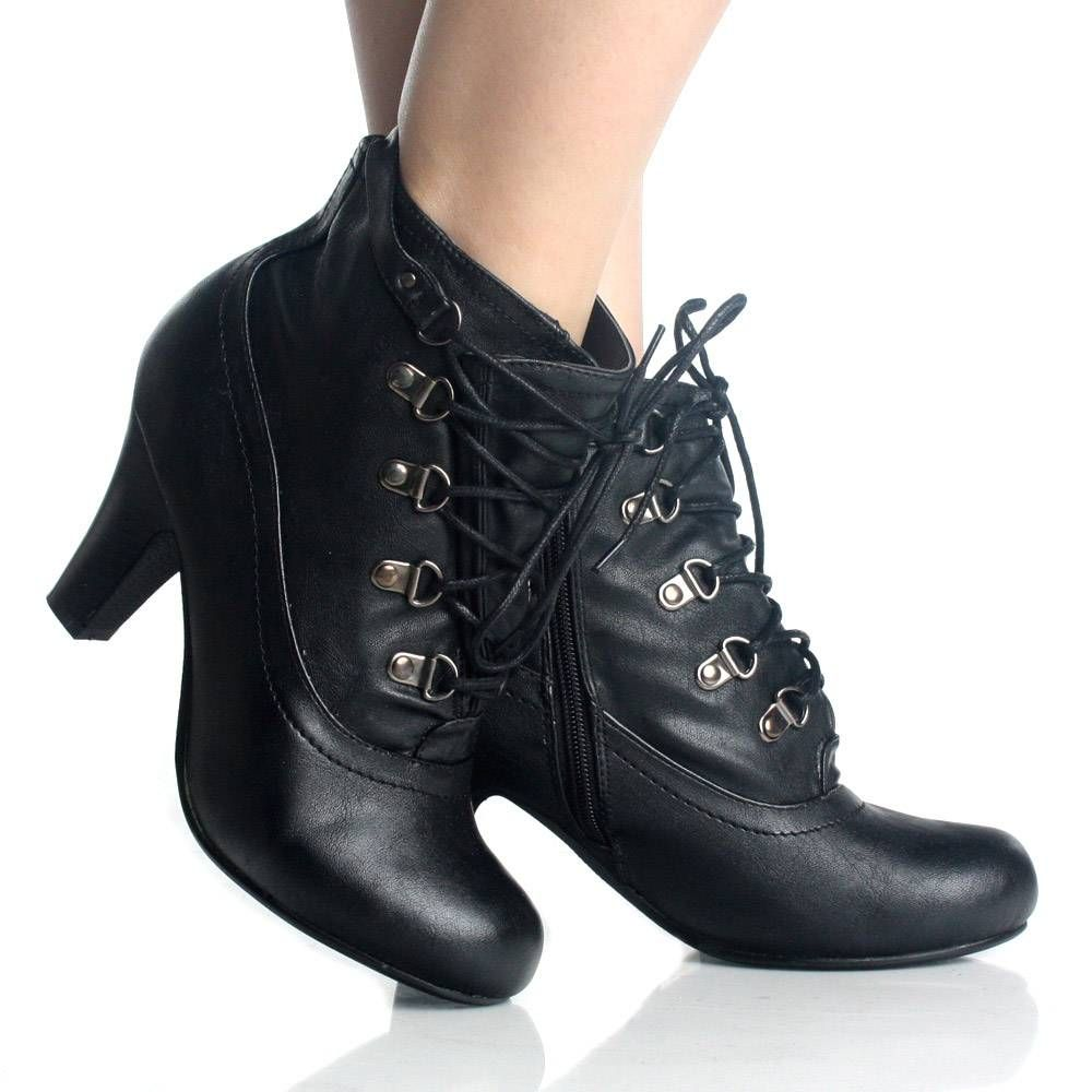 Black Lace Up Ankle Boots Oxford Booties Steampunk Womens High ...