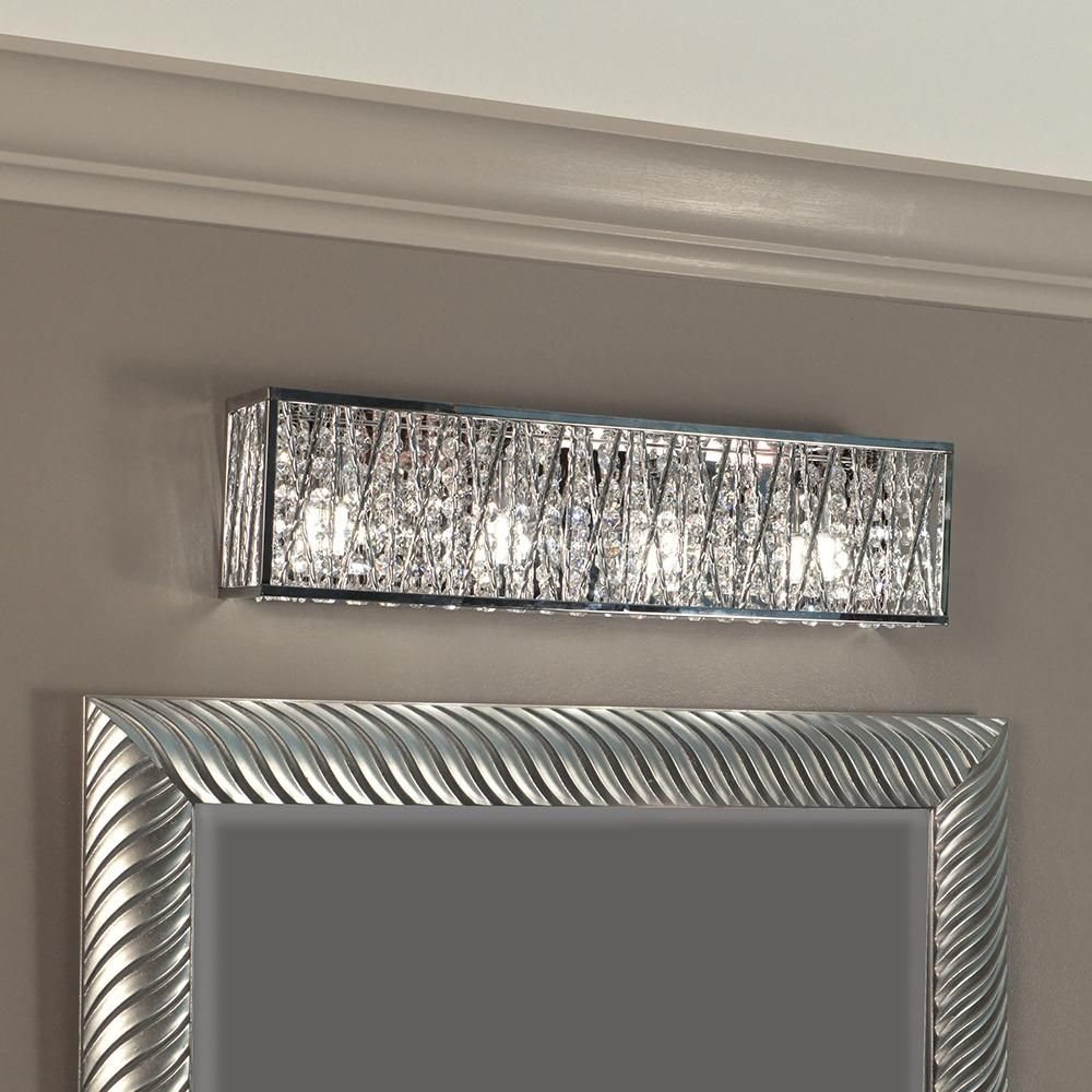 Dsi Lighting Sophia 4 Light Chrome Vanity Light With Crystal