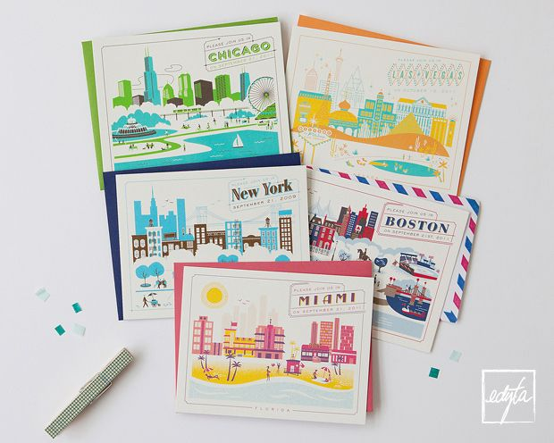hellolucky letterpress greeting cards cities - Letterpress Greeting Cards