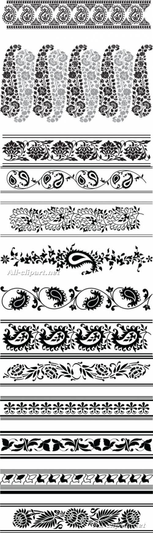 Декоративные бордюры с цветочными элементами в векторе   Vector Floral Ornament Borders