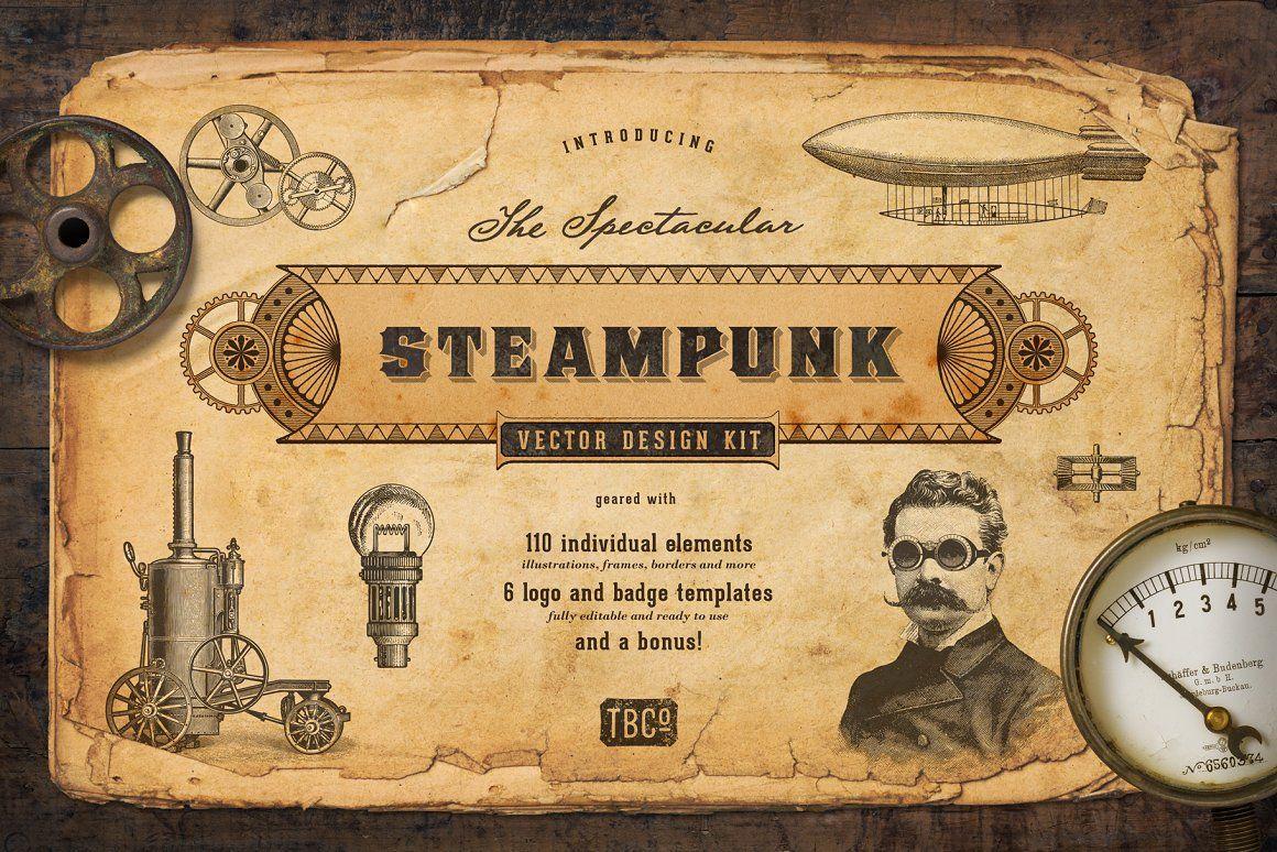 The Steampunk Vector Design Kit steampunk vector design