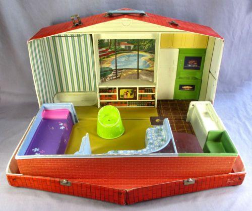 Playroom Workroom Bedroom 1965: Vintage 1965 Barbie & Skipper Deluxe House Vinyl In 2019