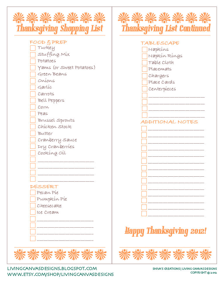 Thanksgiving Shopping List Freebie Printable   Holidays  Decor