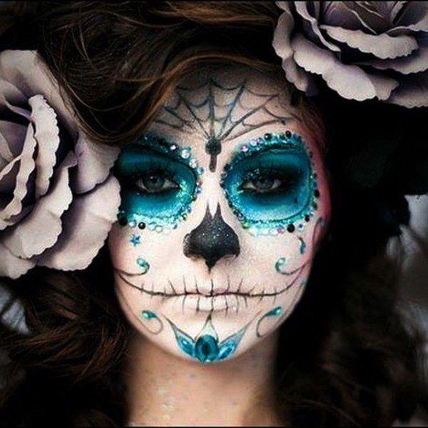 resultado de imagen de maquillaje esqueleto mexicano - Como Maquillarse En Halloween
