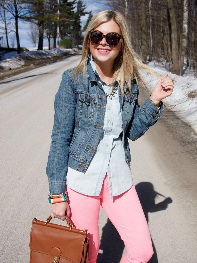 Denim jacket, chambray, colored denim via Suburban Faux Pas