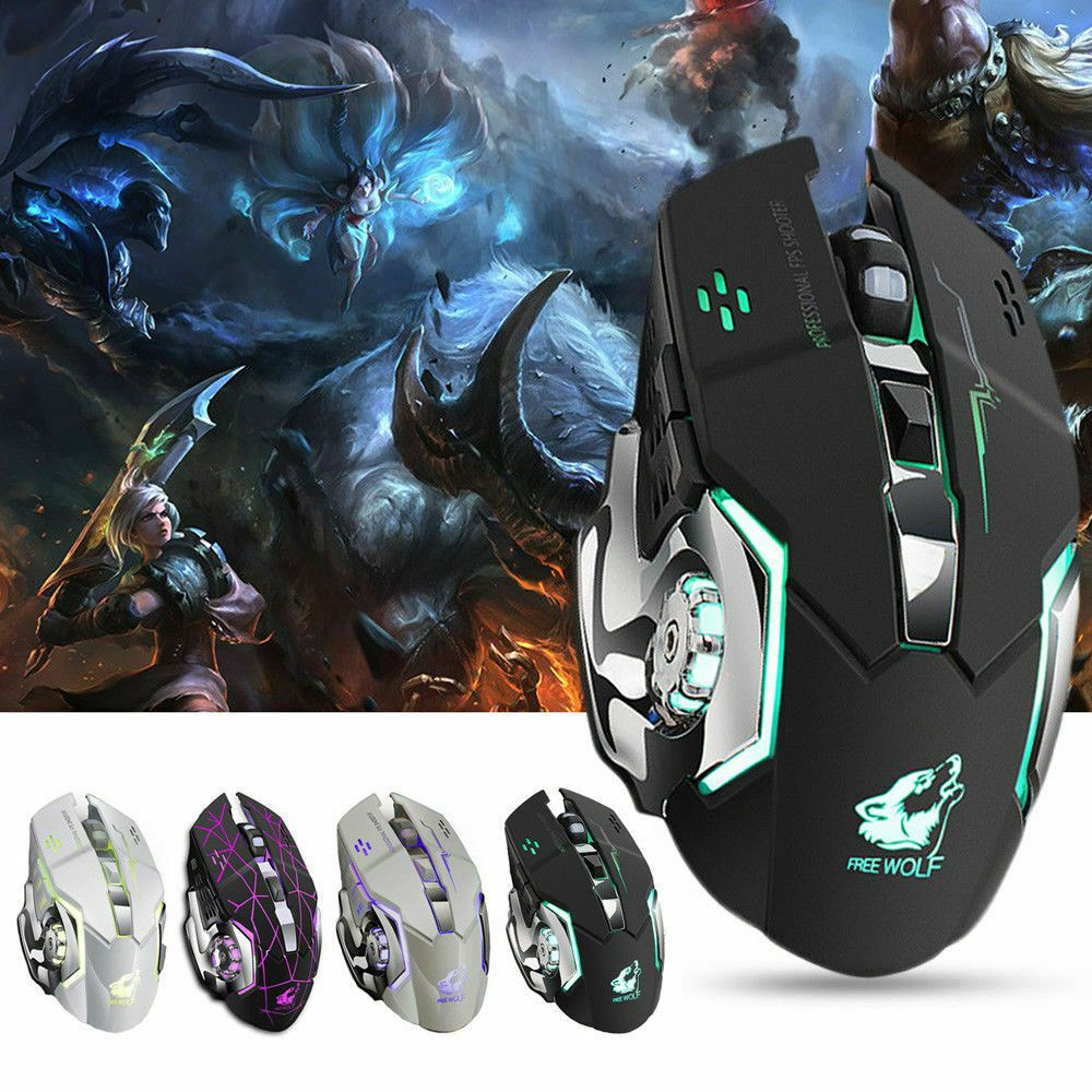 2400DPI Rechargeable Wireless Silent LED Backlit Gaming Mouse Mice For PC Laptop
