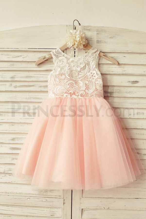 Ivory Lace Blush Pink Tulle Flower Girl Dress…
