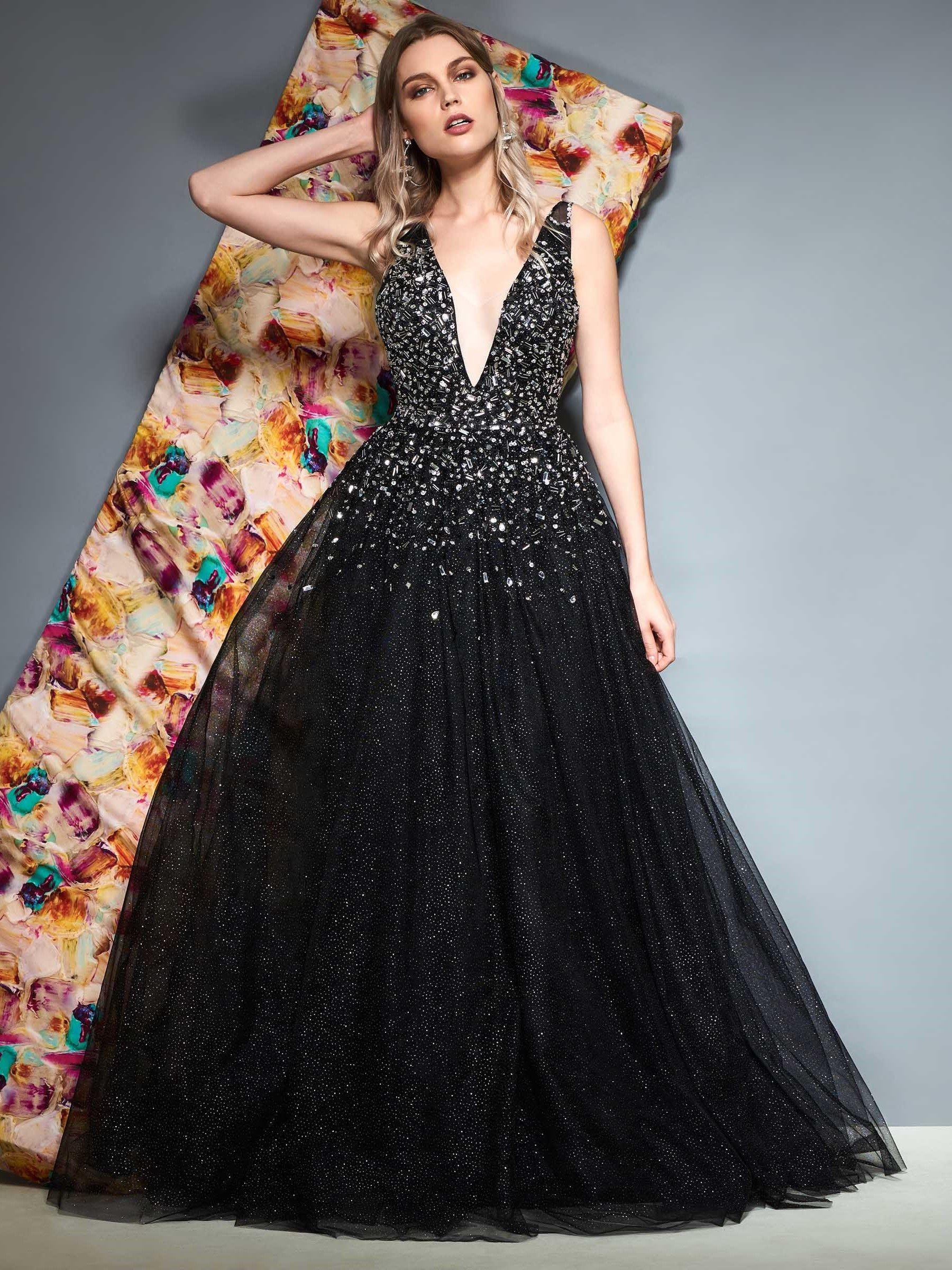 Ericdress ALine Beaded VNeck Black Evening Dress