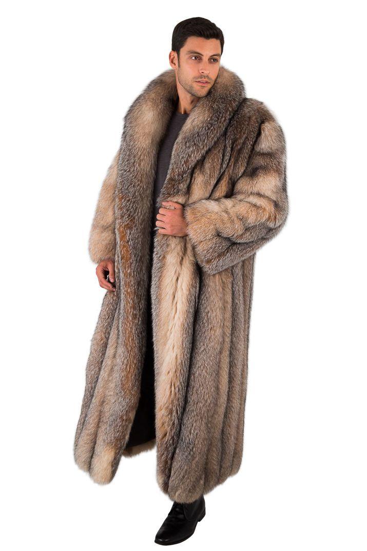 766693e89d6 Long Crystal Fox Fur Coat for Men Full Length Genuine Fur Overcoat ...