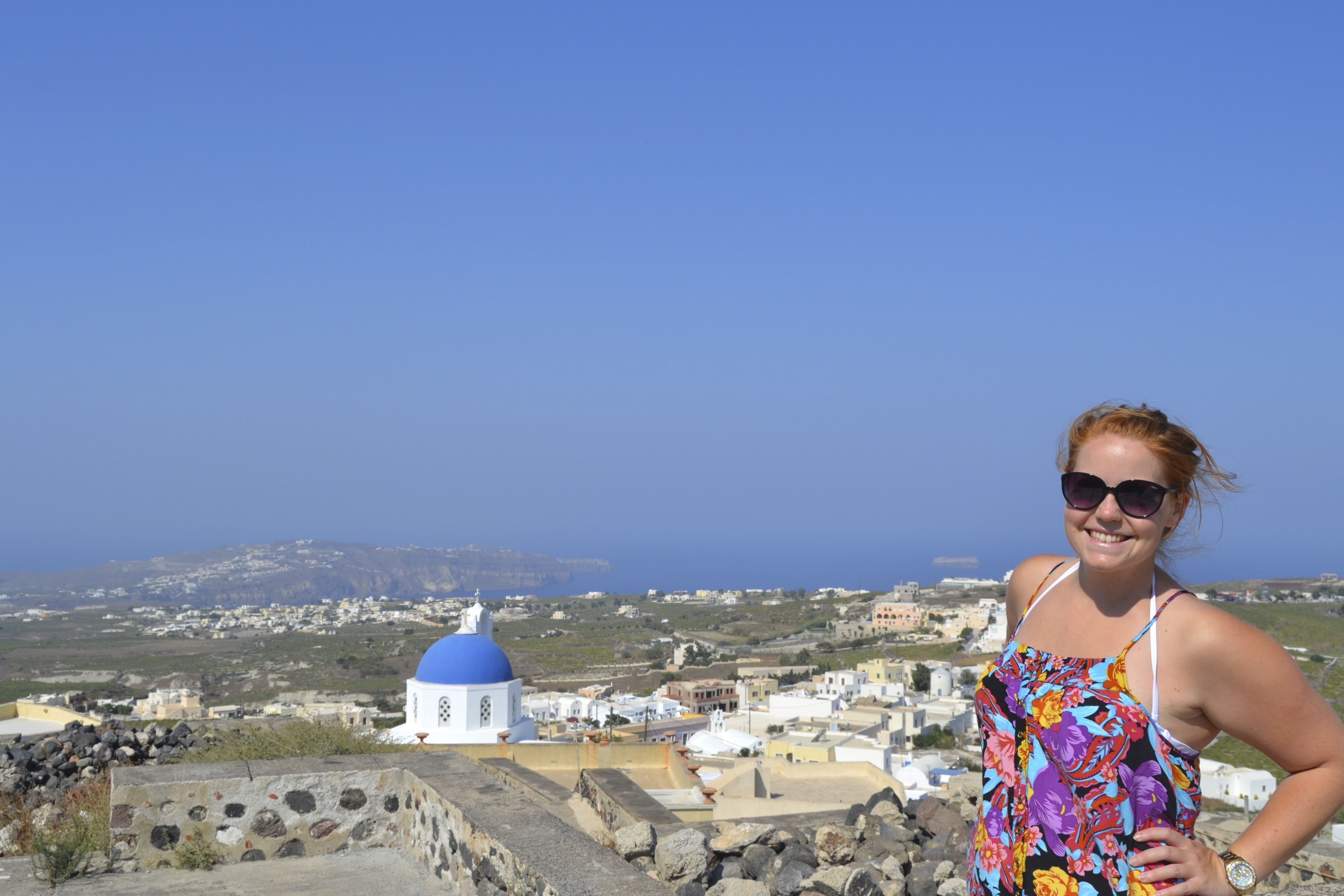 Tahlia Cole: This picture was taken when I visited the Island of Thira (Santorini) in Greece while I was travelling before I started my studies. This is the most beautiful Island, with more donkeys than stairs, more churches than houses and more wine than water!