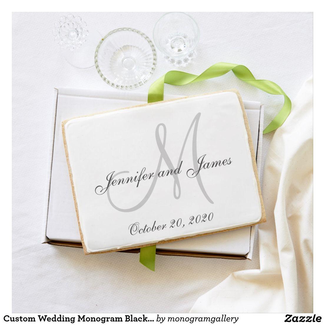 Custom Wedding Monogram Black White Gray Jumbo Shortbread Cookie ...