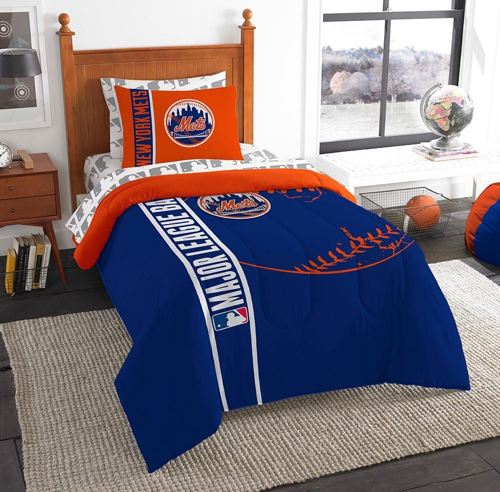 New York Mets MLB Twin Comforter Bed in a Bag (Soft & Cozy