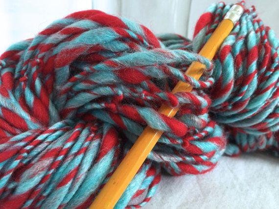 Handspun Yarn Thick andThin MAKE A RHYME  bulky by TerraBellaSpun