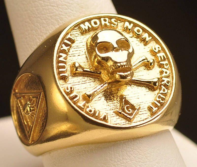 10K Gold Big free mason MASONIC RING Skull Freemasonry