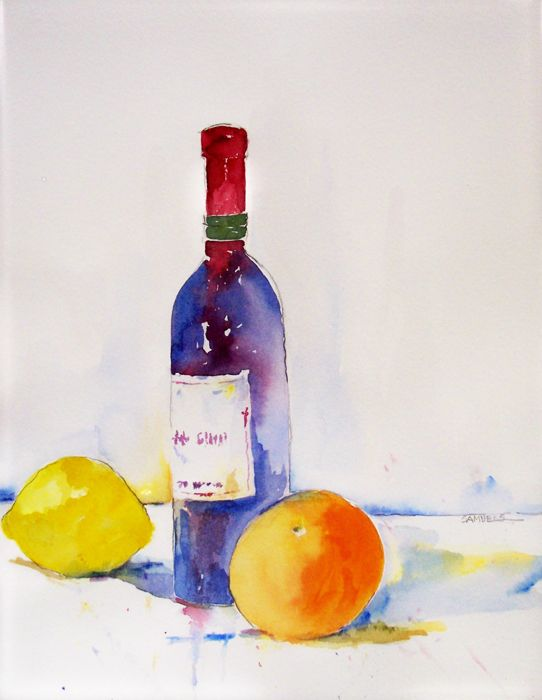 wine bottle with orange 542 700 watercolors