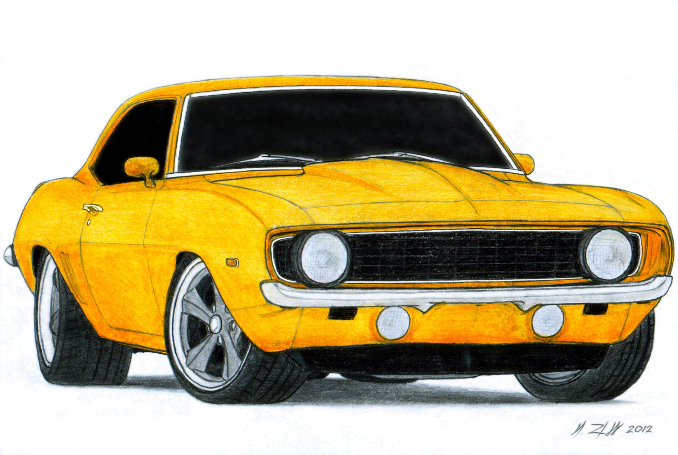 1969 Chevrolet Camaro SS Pro Touring Drawing by ...