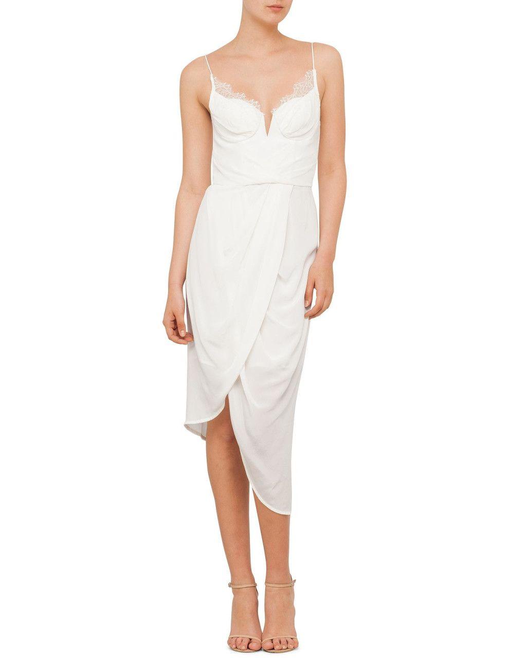 White dress david jones - Silk Lace Underwire Dress David Jones
