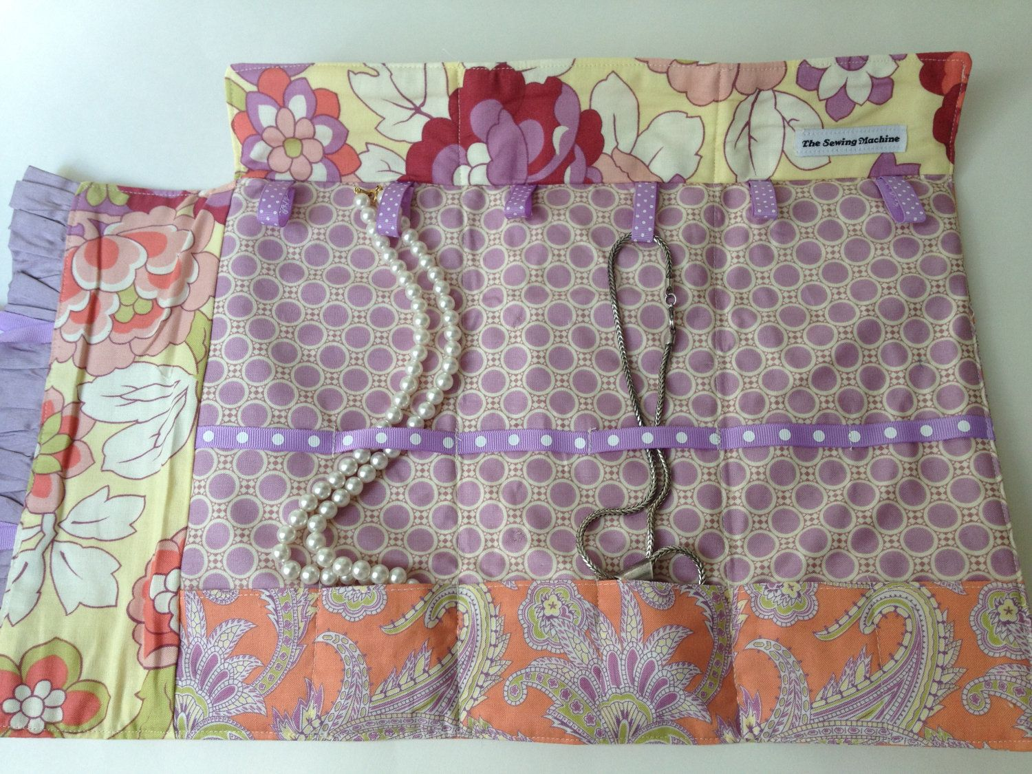 Necklace Travel Case in orange and lavender paisley cotton Amy