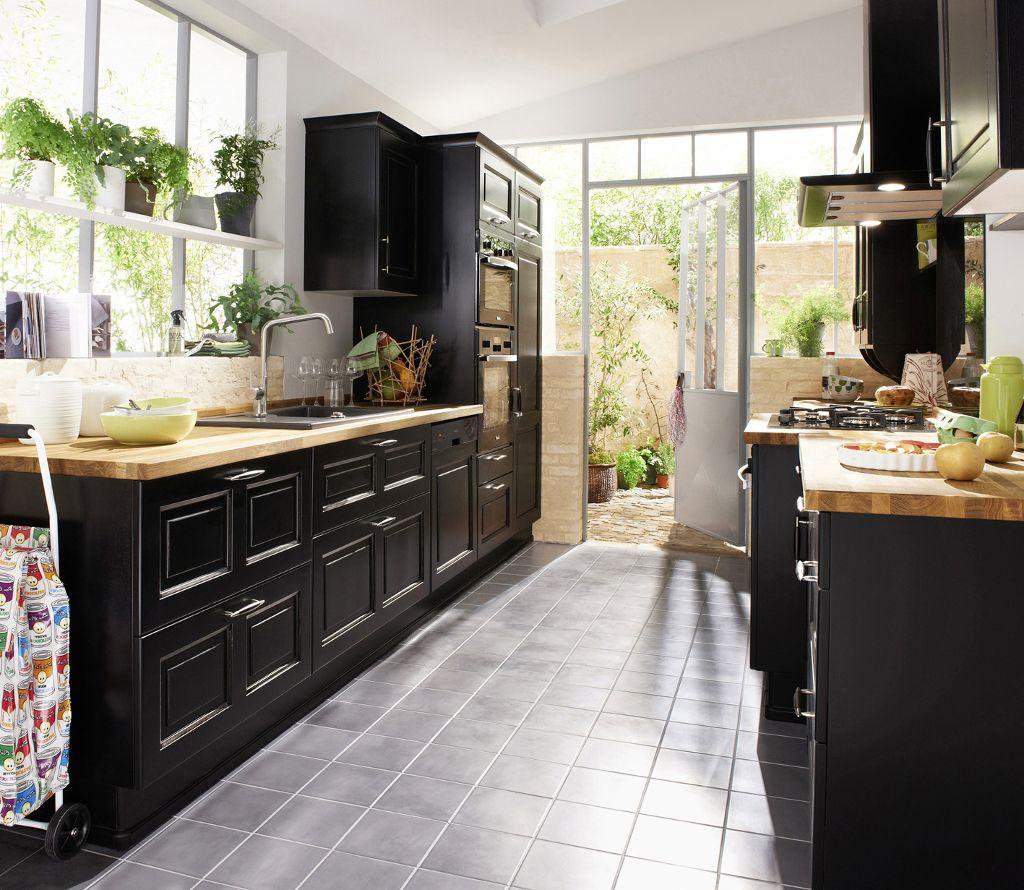 Cucina Moderna Nera E Legno Cucine Rustiche Cucina Moderna