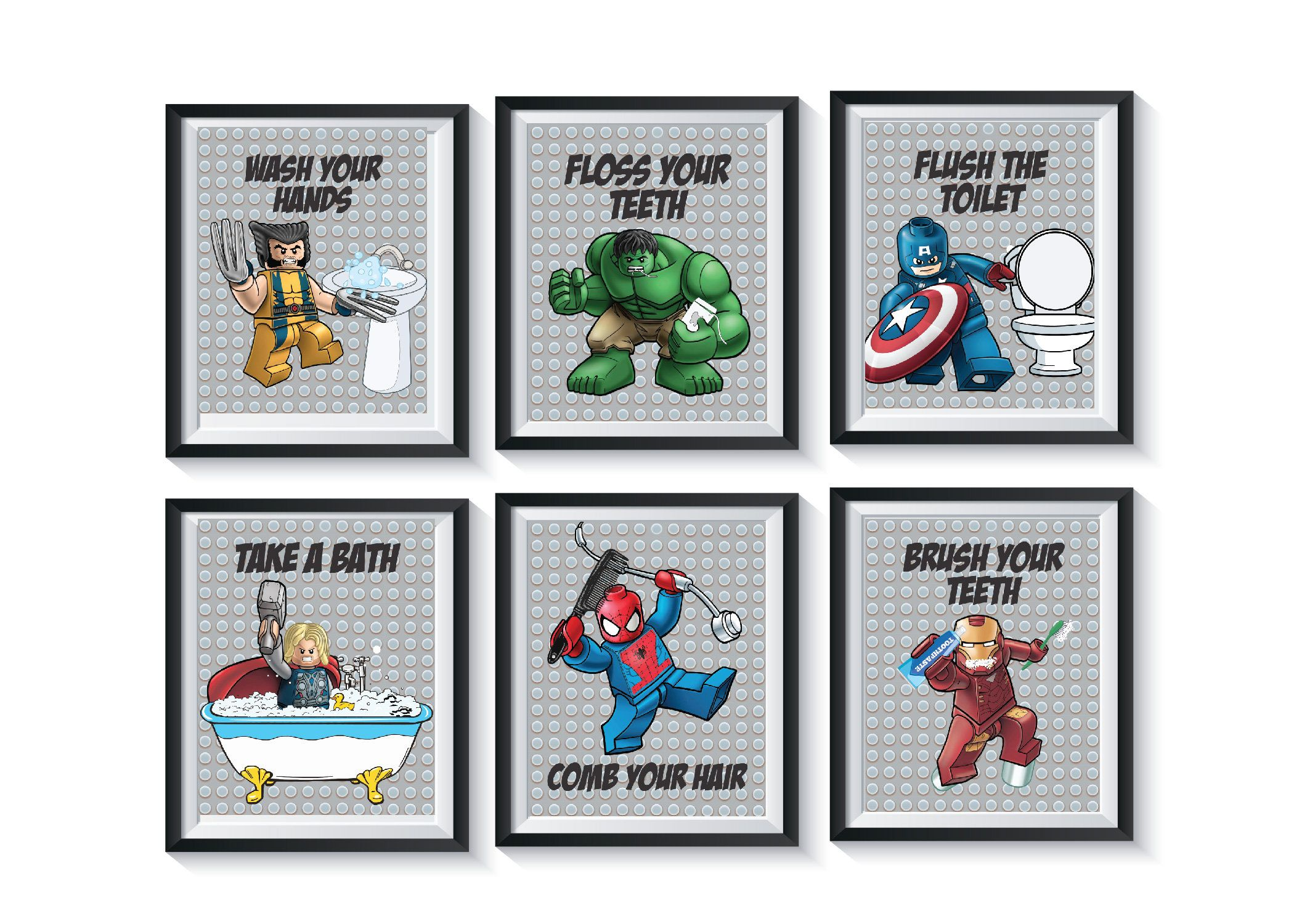 Superhero Bathroom Art Prints Qty 6 Wall Decor Boy Avengers Etsy In 2021 Bathroom Art Prints Superhero Bathroom Prints