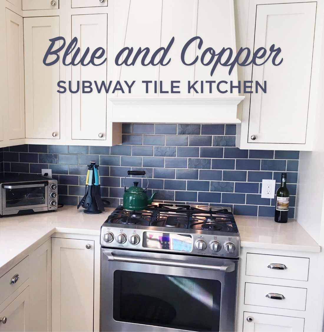 Blue And Copper Subway Tile Kitchen