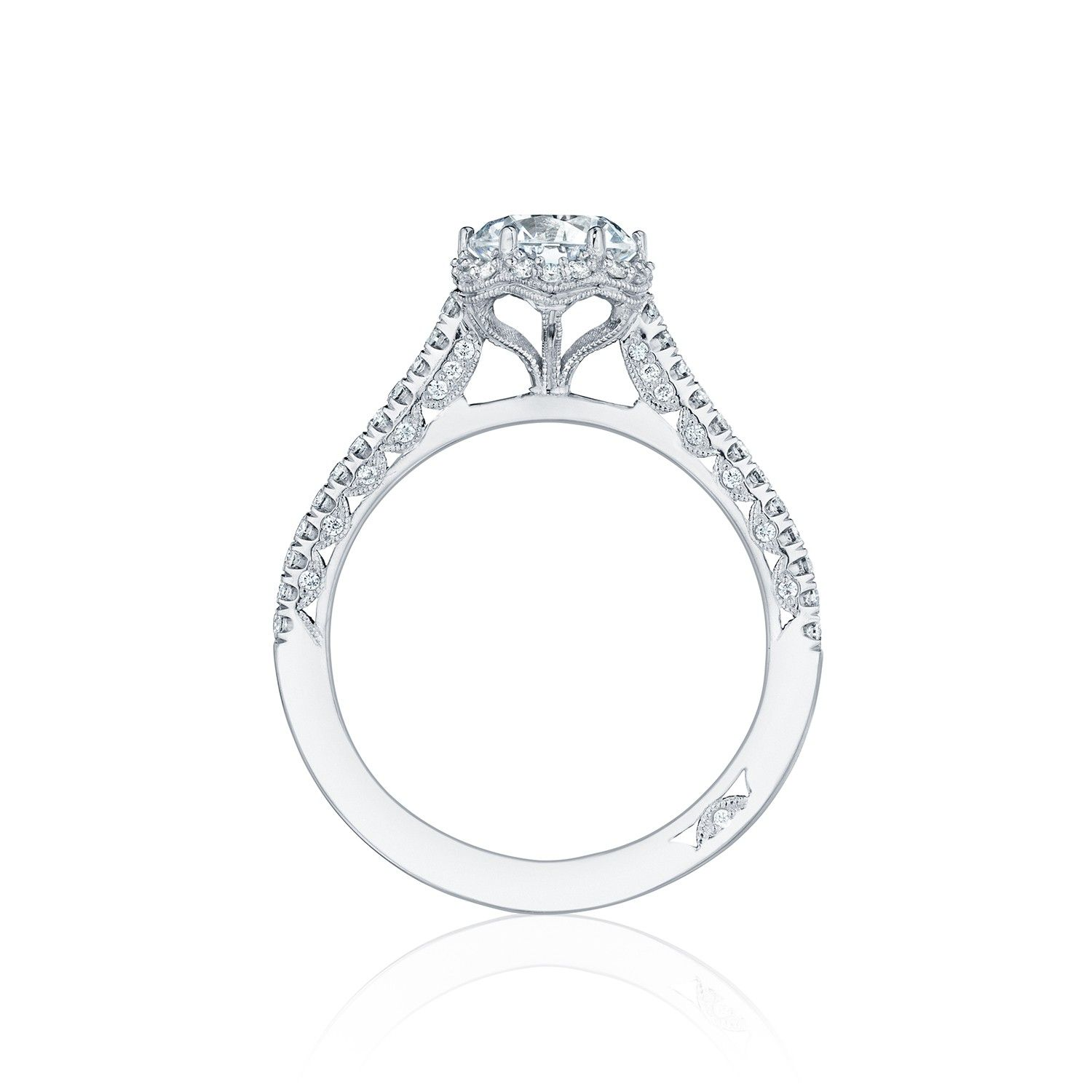 Delicate and dainty, this diamond engagement ring is
