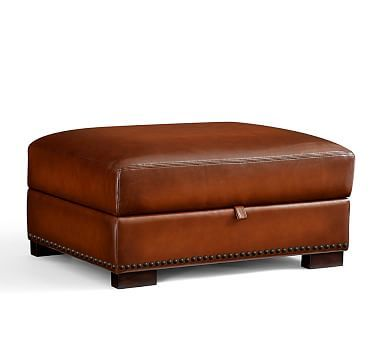 Turner Leather Storage Ottoman with Nailheads | Pottery Barn ...