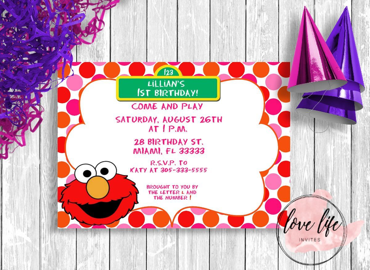 Elmo Birthday Invitation | Elmo Invitation | Sesame Street ...