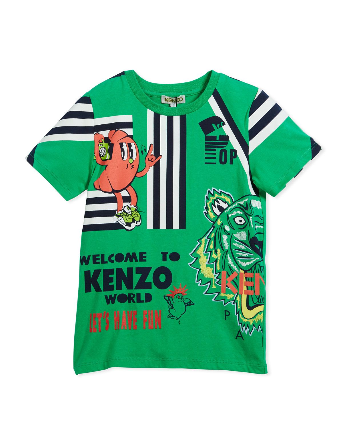 cceeaf1a KENZO MULTI-FOOD ICON TIGER STRIPED T-SHIRT, GREEN, SIZE 2-6. #kenzo #cloth  #