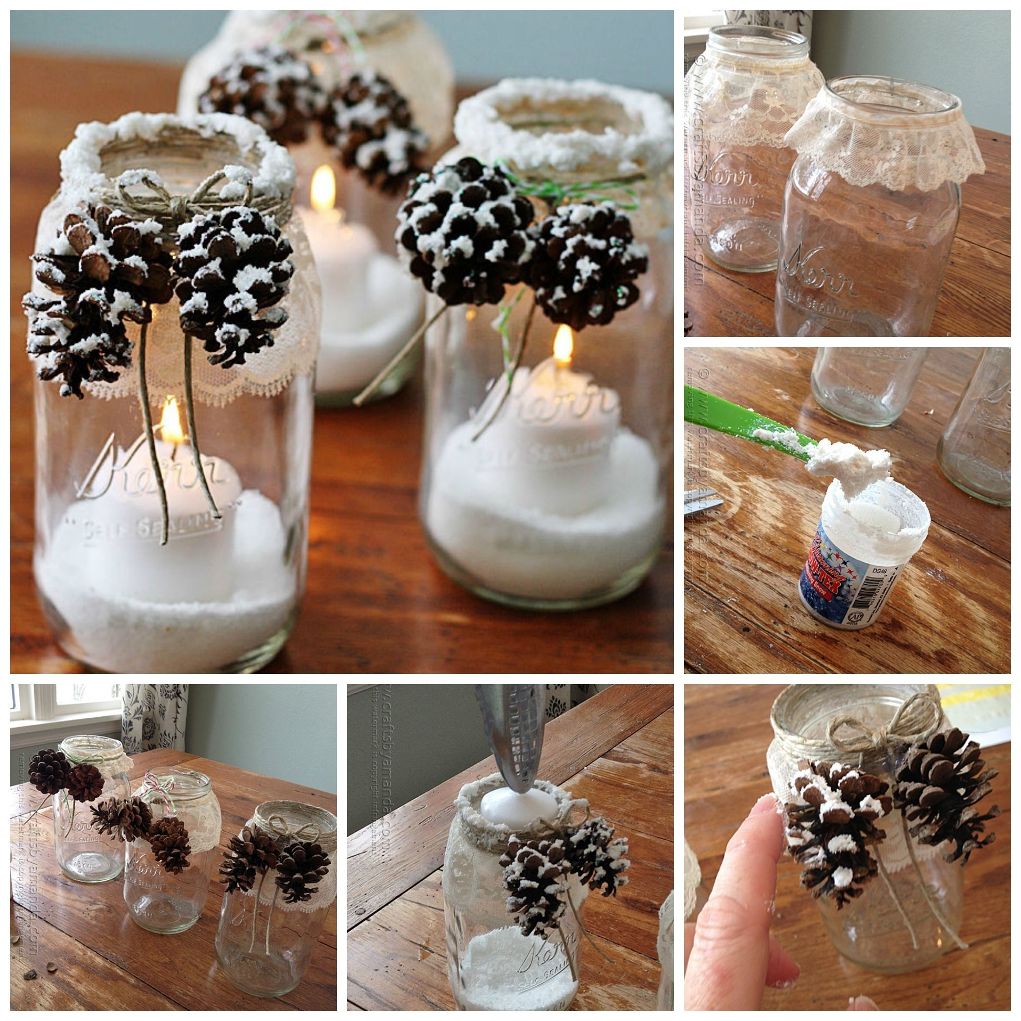 Mason Jar Decorations For Christmas Snowy Pinecone Candle Jars Christmas Mason Jar Christmas Pictures