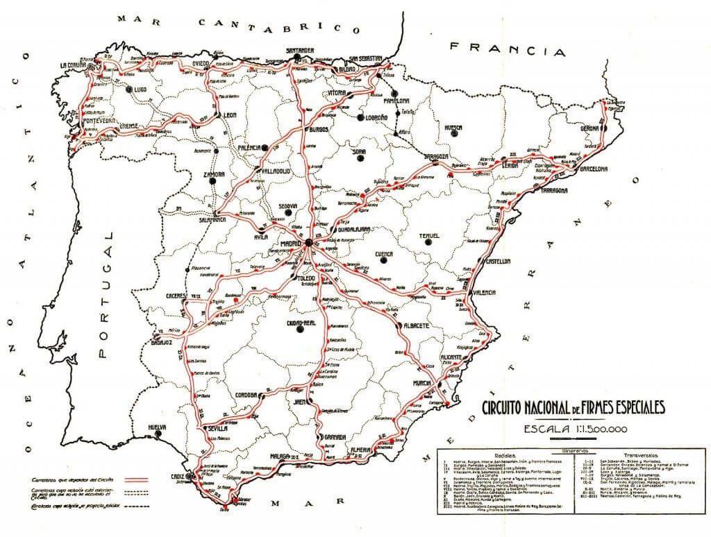 Historia De Las Carreteras De Espana Mapas De Carreteras