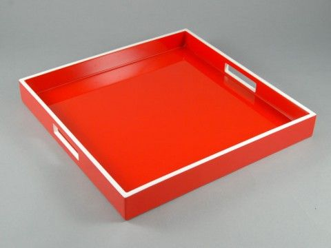 Red with White Trim SQ Serving Tray. love the square. this could be fun anywhere.