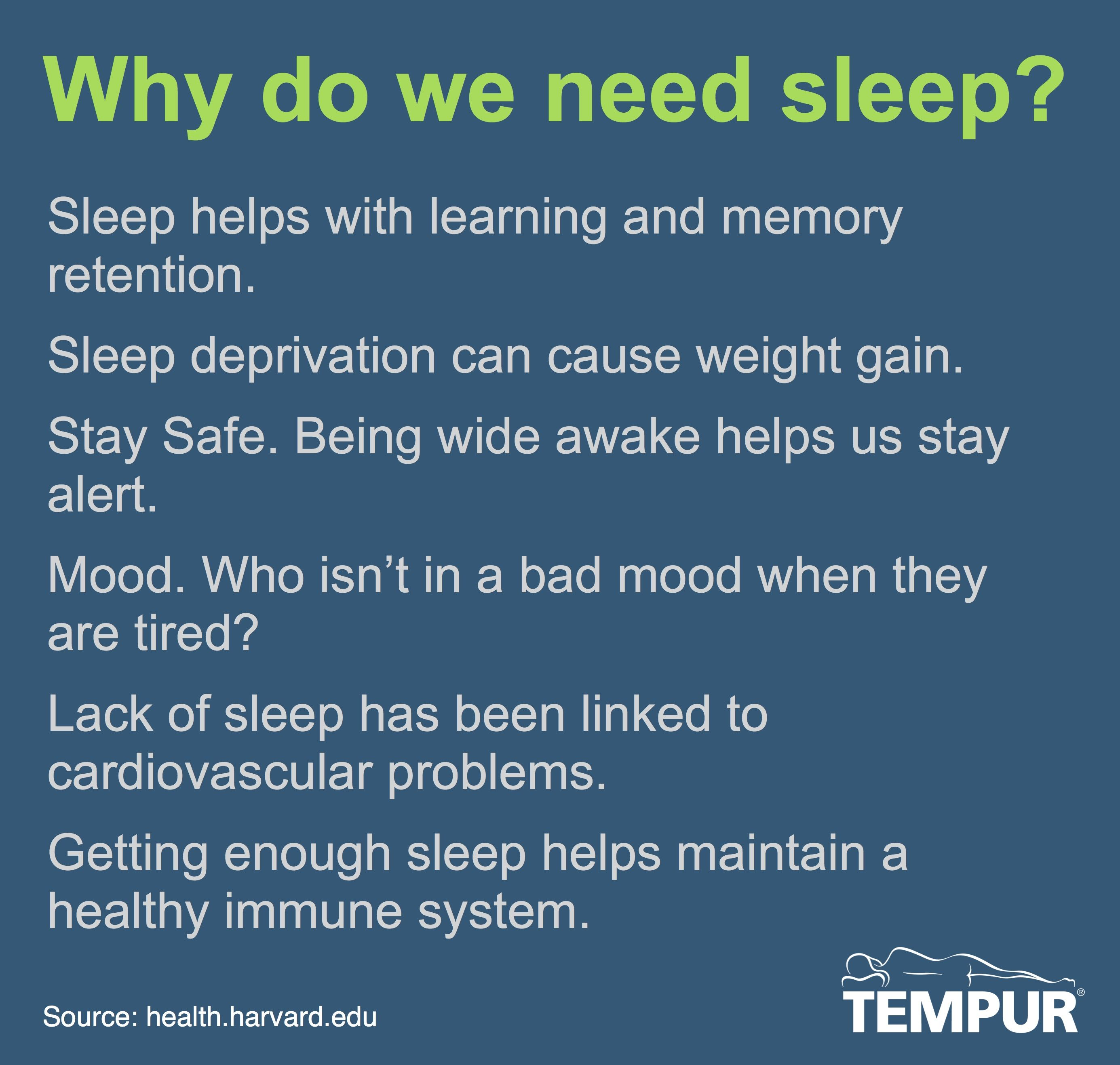 why we sleep Why part of the problem is behavioral if you're overtired,  studies have shown that while we sleep, our brains process and consolidate our memories from the day.