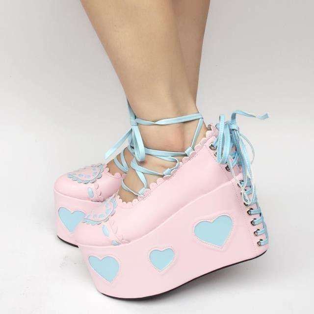 Cute Japanese Heart Strap High Platform Shoes HF00172