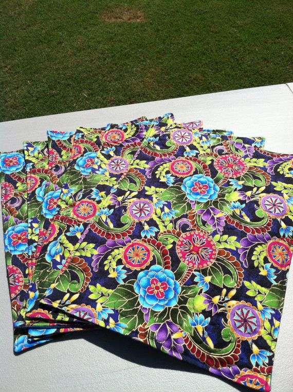 Quilted Placemats  Handmade  Set of Six  MultiColored by SuzySewz - Newly Listed!