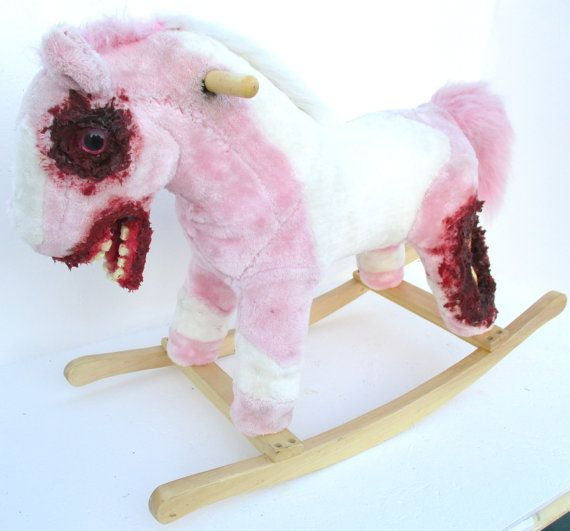 OOAK Custom Creepy Horror Zombie Rocking Horse By