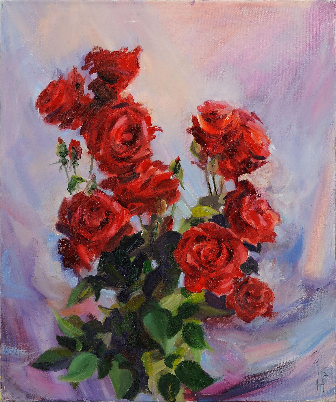 Rose Painting Flowers Still Life Red Rose Art Flower Art