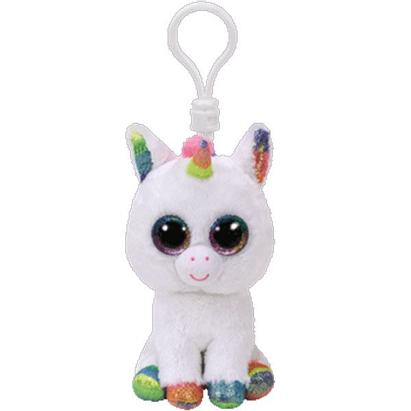 BLITZ the Unicorn Glitter Eyes Plastic Key Clip - 3 inch TY Beanie Boos