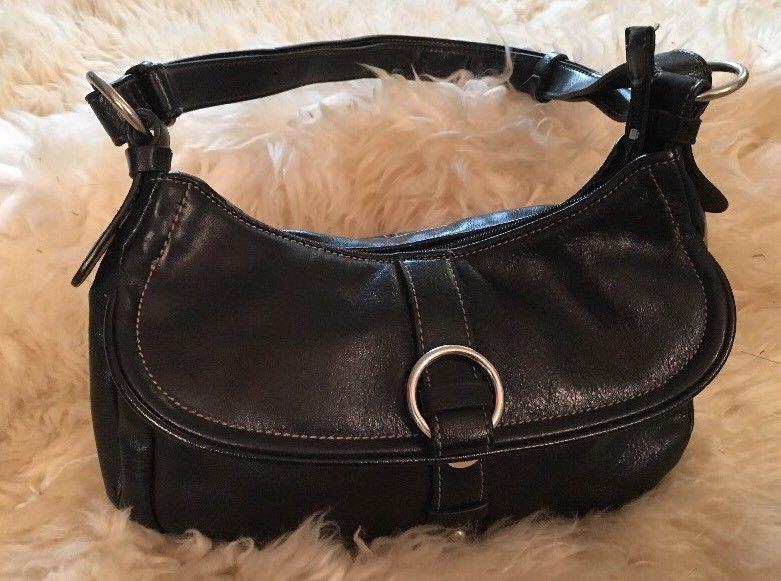 Aurielle Handbag Black Genuine Leather Satchel Shoulder Bag Purse Ebay