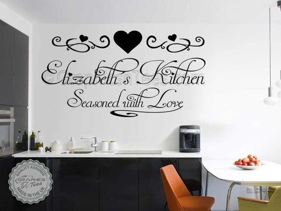 Personalised Kitchen Wall Stickers Seasoned With Love Quote