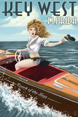 Key West Wooden Boat Pin-Up Girl
