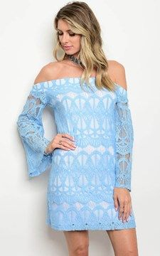 5f5105d97a51 Long Sleeve Cotton Off Shoulder Dress Blue White