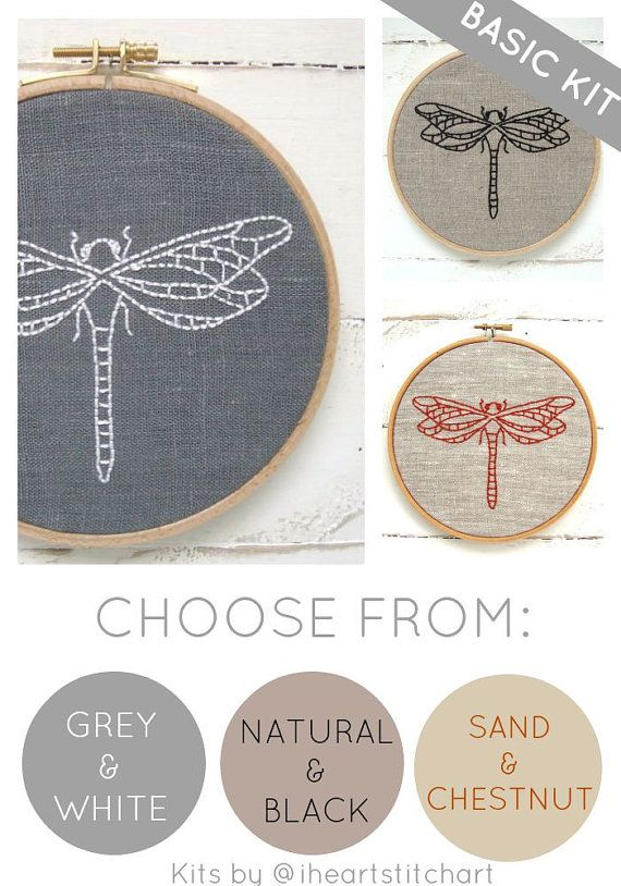 Easy embroidery kit, dragonfly embroidery pattern, modern embroidery ...