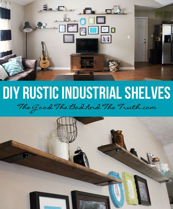 DIY Rustic Industrial Shelves
