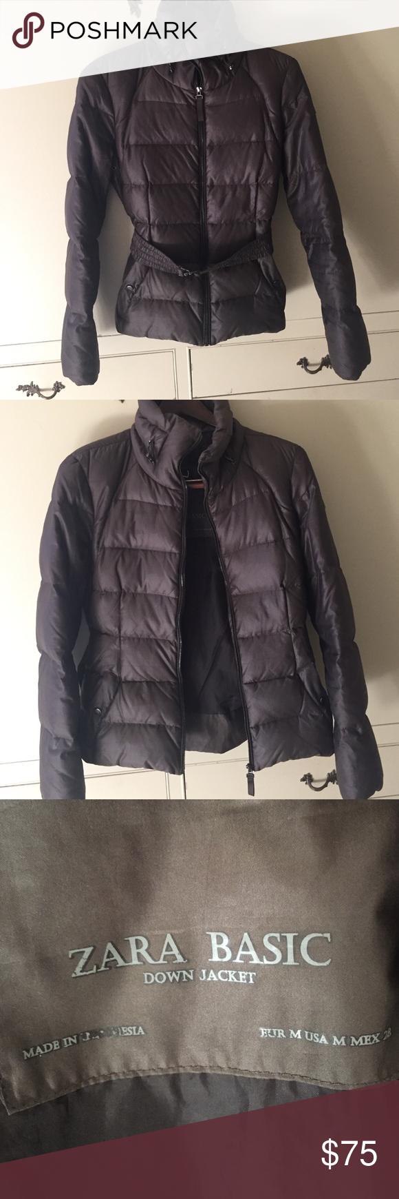 Zara Basic Down Jacket Puffer Coat With Belt Jackets Zara Basic Zara [ 1740 x 580 Pixel ]