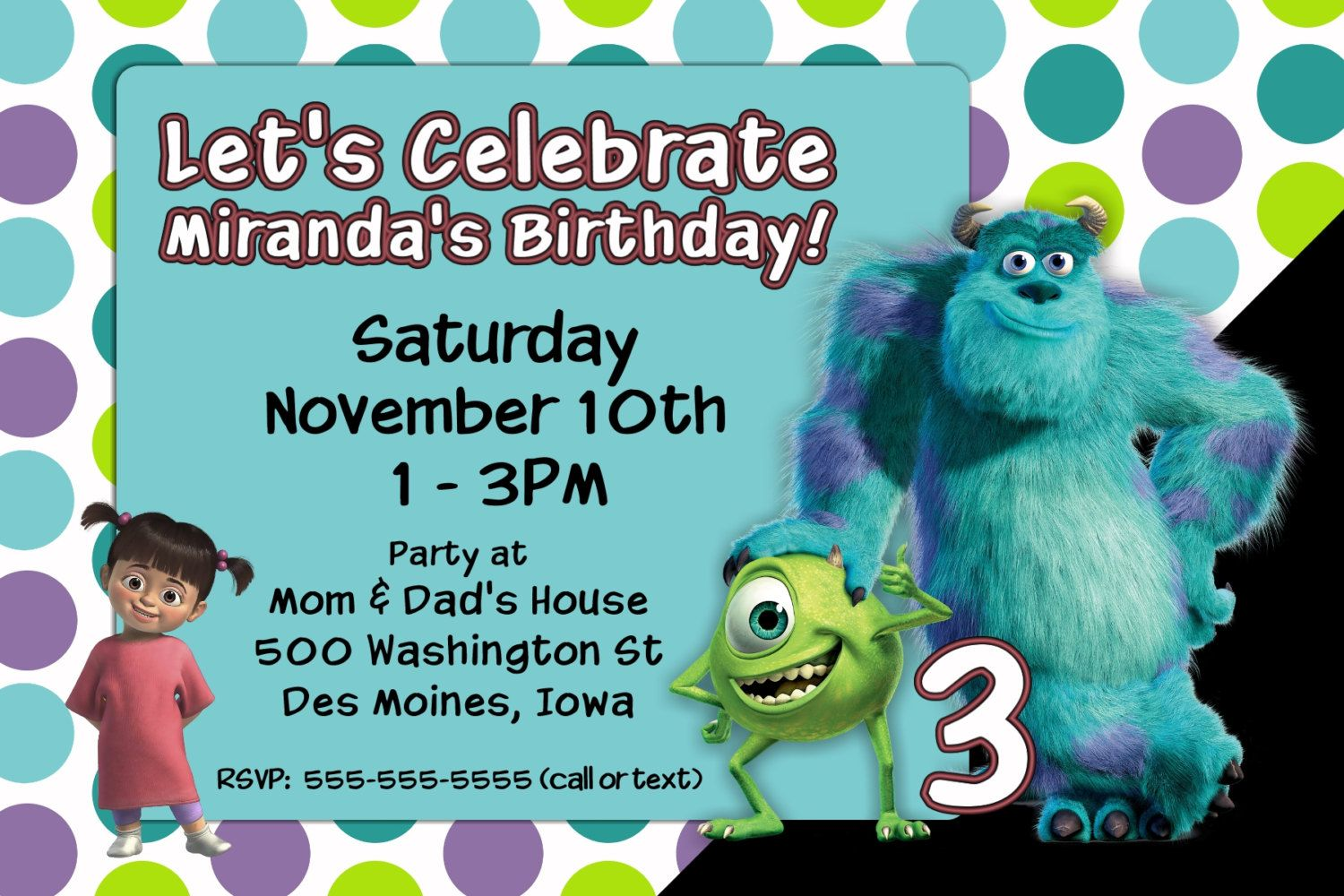 Custom Monsters Incorporated Birthday Party Invitation Print at Home ...