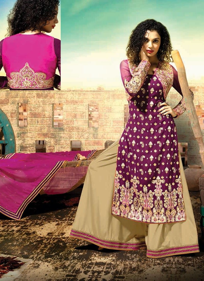 ba18f62629 Young and vivacious is the perfect description for this thrilling beige and  magenta faux georgette designer palazzo suit. This gleaming designer palazzo  ...