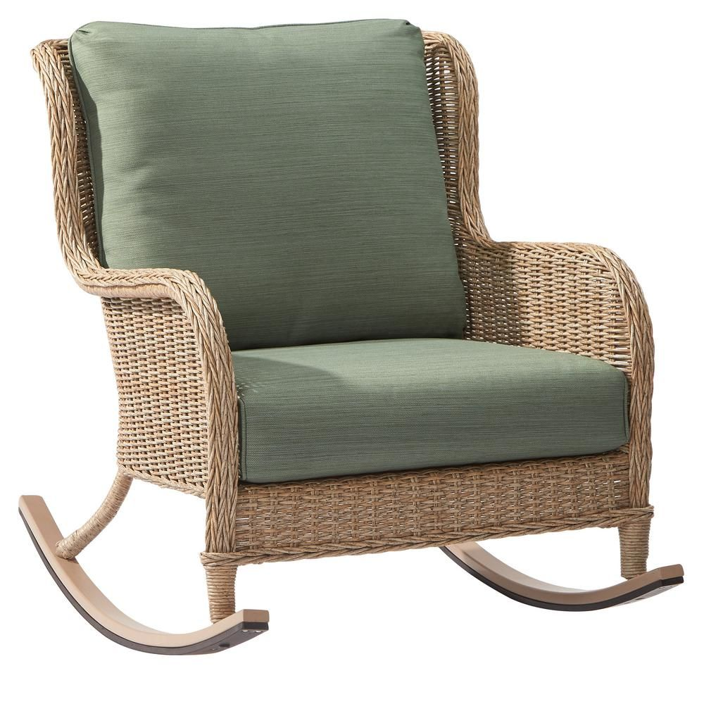 Hampton Bay Lemon Grove Wicker Outdoor Rocking Chair With Surplus  Cushions D11230 RC   The Home Depot