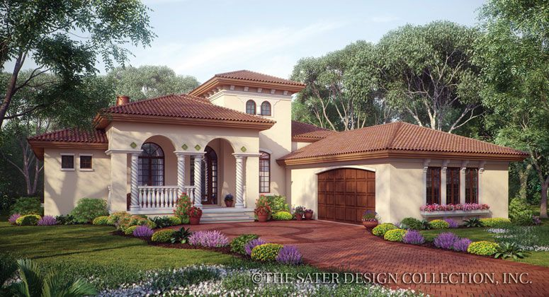 Mercato house plan front elevation for Mediterranean elevation