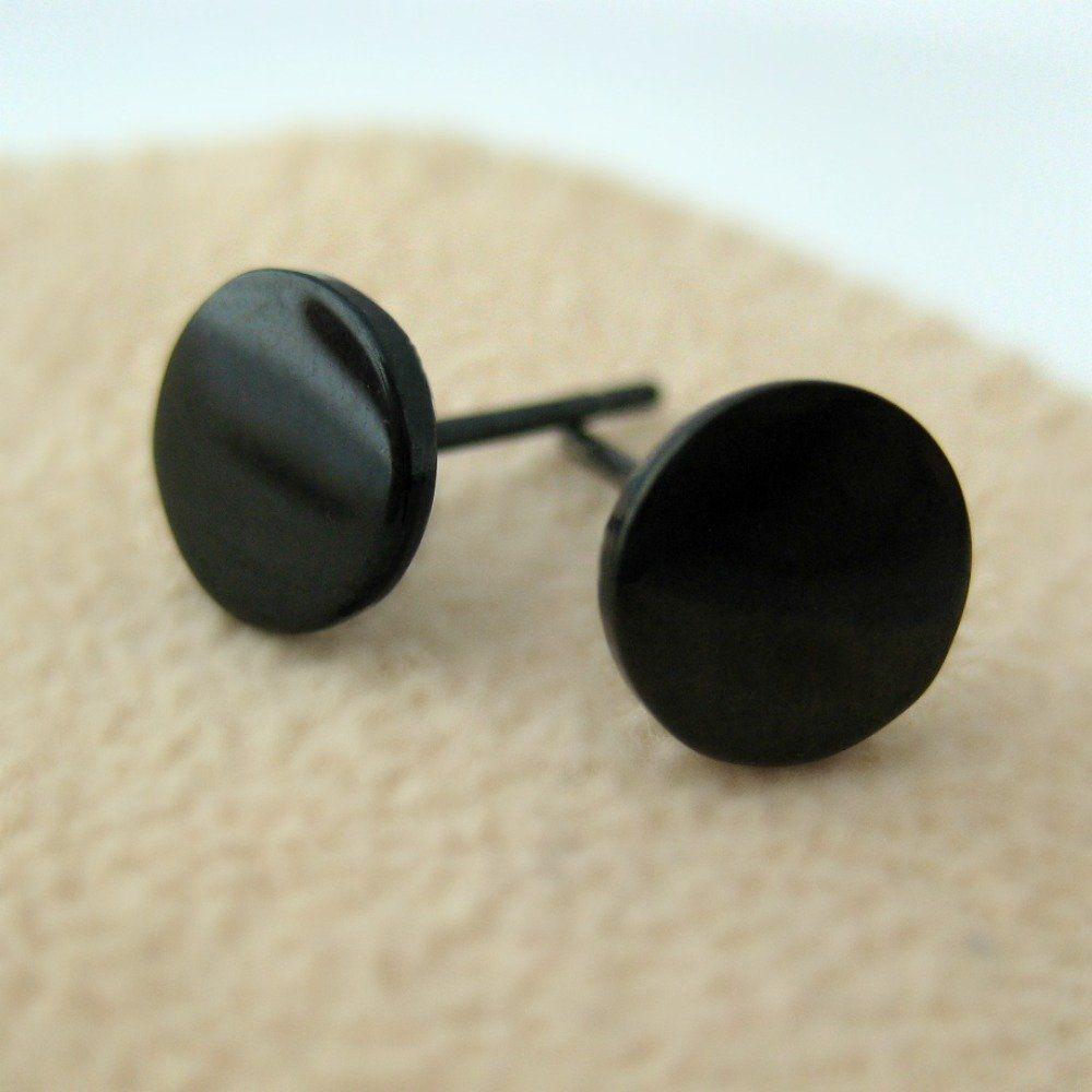 2 Studs Earrings 8mm Fakeplugs Plug Piercing Disc Fake Tunnel Cheater Steel
